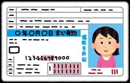 女性の運転免許証の写真のイラスト