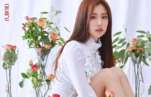 コーラルの薔薇に囲まれる白いシャツのカンヘウォン