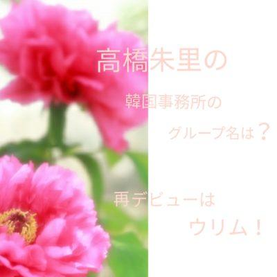 高橋朱里の韓国事務所のグループ名は?再デビューはウリムで!の文字が入った赤い花の画像