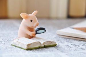 虫眼鏡で本を調べる子豚