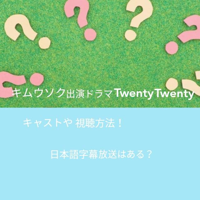 キムウソク出演ドラマTwentyTwentyキャストや視聴方法!日本語字幕放送はある?
